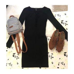 Black Bodycon Lace Up Dress